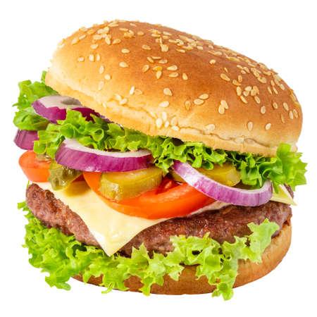 Fresh tasty burger isolated on white