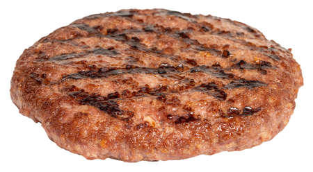 Grilled burger meat isolated on white