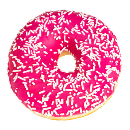 Pink donut with colorful sprinkles isolated on white background.