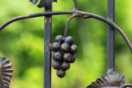 Forged bunch of grapes. Ornate wrought-iron elements of metal gate decoration.