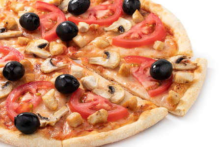 Pizza with chicken, mushrooms and olives isolated on white background.