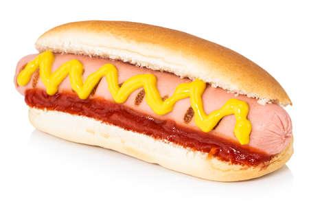 Hot dog con mostaza aislado en blanco