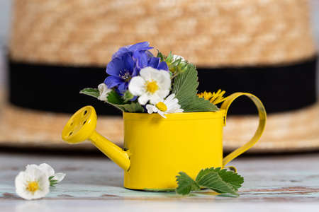 Summer background. Small watering can with a mini bouquet of wild flowers and hat. Stockfoto