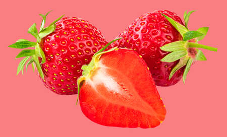 Strawberry isolated on  pink background.