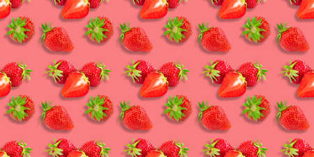 Colorful pattern of strawberries on pink background. Top view. Seamless.