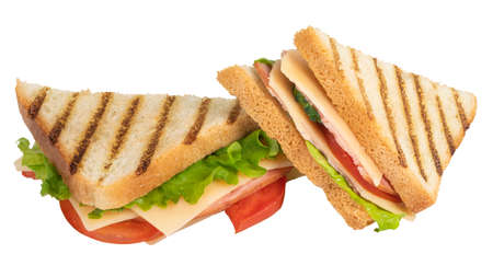 Sandwich with ham, cheese, tomato, lettuce and toasted bread isolated on a white background. Stok Fotoğraf