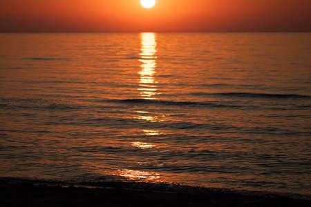 Beautiful sunrise over the sea. Morning at sea.