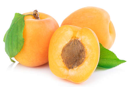 Apricot isolated on white background. Stok Fotoğraf