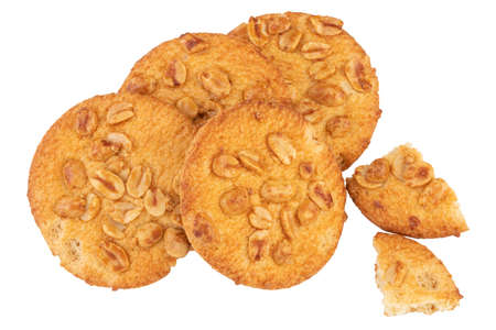 homemade cookies with peanut on white background. Stok Fotoğraf