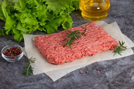 raw minced meat and spices on dark background. Stok Fotoğraf