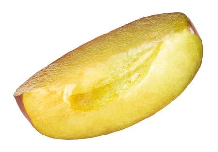 plum slice isolated on white background Фото со стока