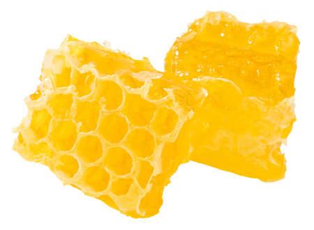Honeycomb piece. Honey slice isolated on white background.