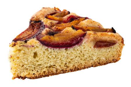 slice of plum cake isolated on white background.