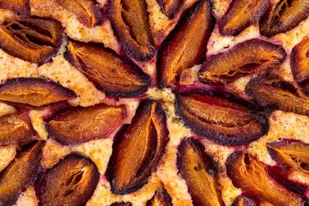 Plum pie close up. Plum cake texture.