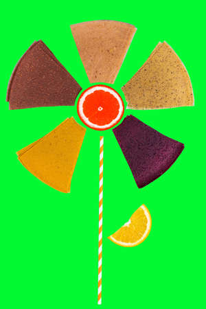 abstract flower made from pastille and fruit. Summer concept. Фото со стока