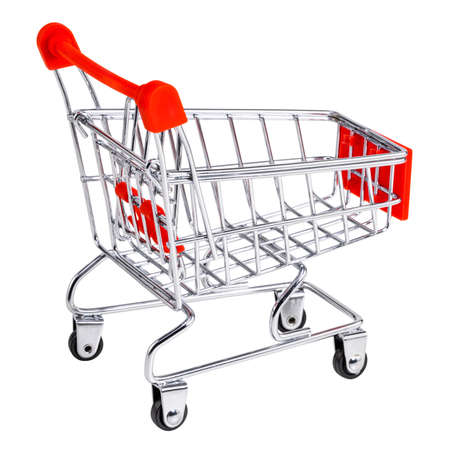 Shopping cart isolated on white background. Shop trolley at supermarket.