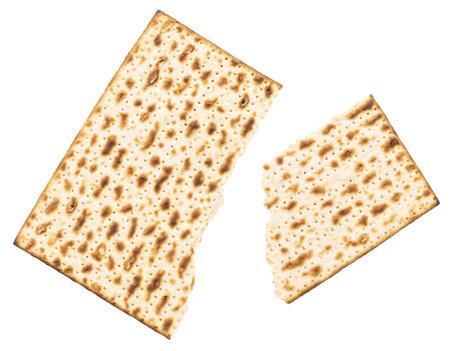 Matzah Isolated on white background. Matzo, unleavened bread
