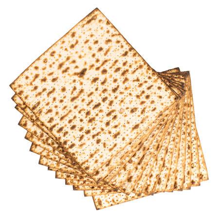 Matzo Isolated on white background. Matzah, unleavened bread. Фото со стока