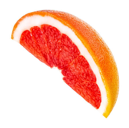 slice of pink grapefruit citrus fruit isolated on white background with clipping path. Фото со стока