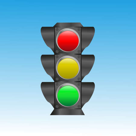Black traffic light on a blue background. Vector illustration Illustration