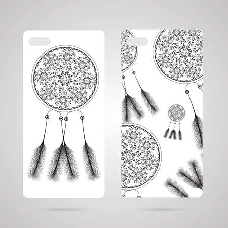 sleeping bags: Mobile phone cover back and screen, pattern. Vector illustration, template for phone case.