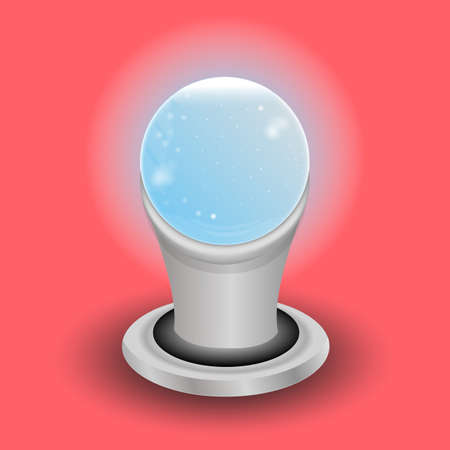 Magic crystal ball of glass and lightning White transparent glass sphere on a stand. Vector shining plasma ball Transparent object for design,