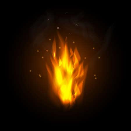 illustration of burning fire flame on black background vector illustration