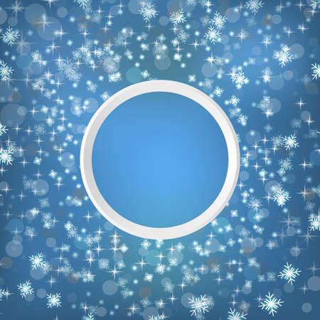 Round snow frame with empty space for your text. Winter frame made of spots or dots of various size. Circle shape. New Year, Christmas abstract background Çizim