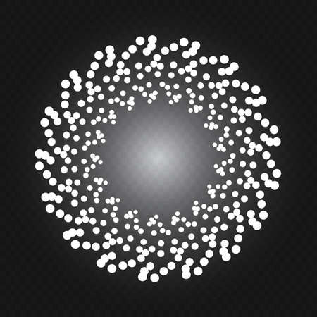 Round snow frame with empty space for your text. Winter frame made of spots or dots of various size. Circle shape. New Year, Christmas abstract background Illustration