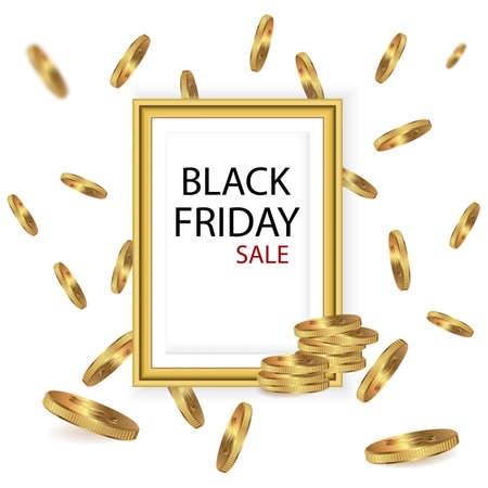 Black Friday sale inscription at gold frame around coins. Black Friday template for your banner or poster. Sale. Frame. Vector Illustration