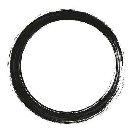 vector brush strokes circles of paint on white background. Ink hand drawn paint brush circle. Logo, label design element vector illustration. Logo