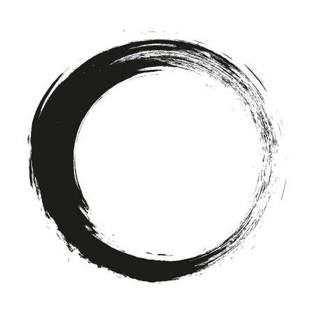 vector brush strokes circles of paint on white background.