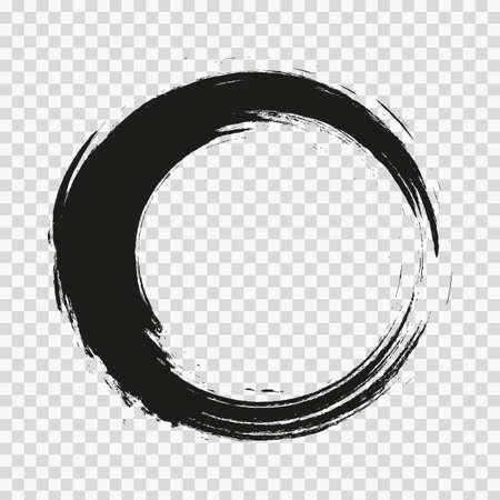 vecteur de coups de pinceau cercles de peinture sur fond transparent.