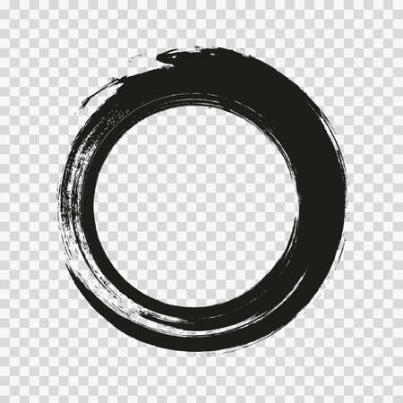 vector brush strokes circles of paint on transparent background. Vector Illustration