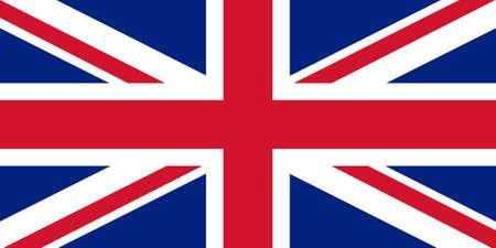 United Kingdom Flag. Brush painted UK flag. Hand drawn style illustration with a grunge effect and watercolor. United Kingdom Flag with grunge texture. Vector illustration.