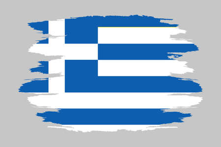 Flag of Greece. Brush painted Flag of Greece. Hand drawn style illustration with a grunge effect and watercolor. Flag of Greece with grunge texture.