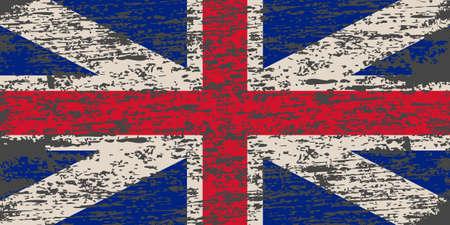 United Kingdom Flag. Brush painted UK flag. Hand drawn style illustration with a grunge effect and watercolor. United Kingdom Flag with grunge texture.