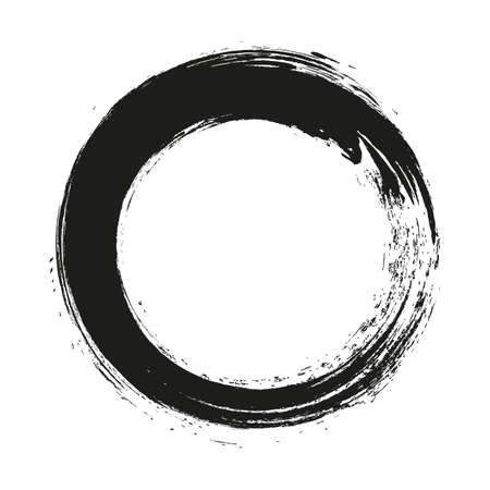 vector brush strokes circles of paint on white background. Ink hand drawn paint brush circle. Vector Illustration