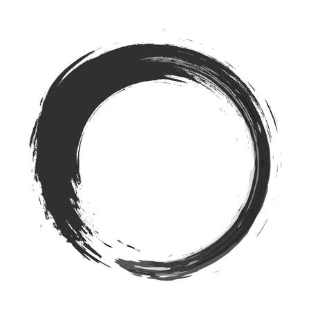 vector brush strokes circles of paint on white background. Ink hand drawn paint brush circle. Illustration