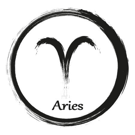 Zodiac sign Aries isolated on white background. Brush hand drawn. Circle Aries zodiac sign, hand painted round horoscope symbol vector.