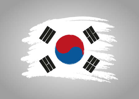 Flag of Korea South. Brush painted Flag of Korea South. Hand drawn style illustration with a grunge effect and watercolor. Flag of Korea South with grunge texture. Vector Vector Illustration