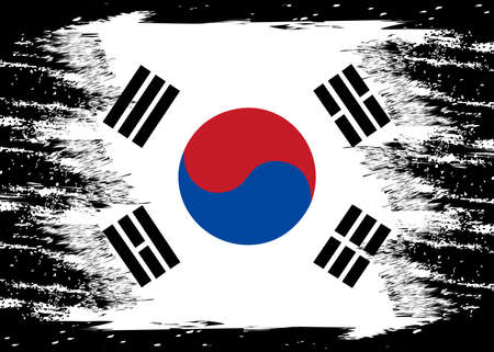 Flag of Korea South. Brush painted Flag of Korea South. Hand drawn style illustration with a grunge effect and watercolor. Flag of Korea South with grunge texture. Vector Çizim
