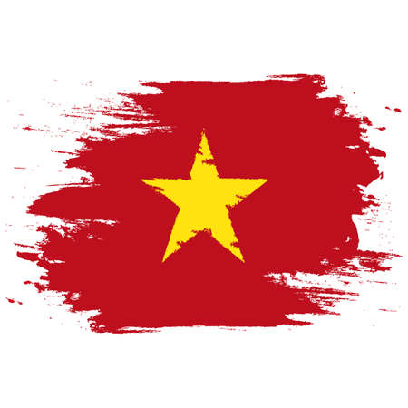 Vietnam Flag. Brush painted Vietnam Flag. Hand drawn style illustration with a grunge effect and watercolor. Vietnam Flag with grunge texture. Vector