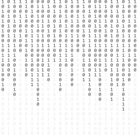 binary code zero one matrix white background. banner, pattern, wallpaper. Vector Ilustração