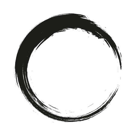 vector brush strokes circles of paint on white background. Ink hand drawn paint brush circle.