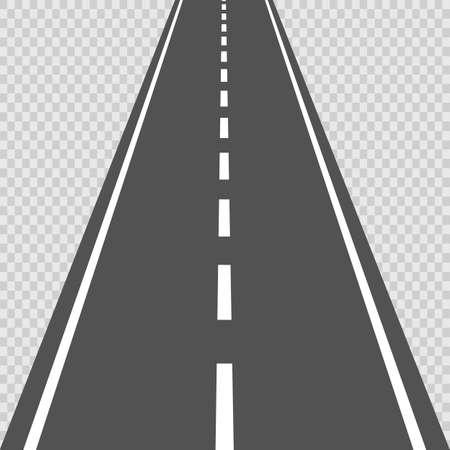 Route incurvée avec des marques blanches. Vecteur