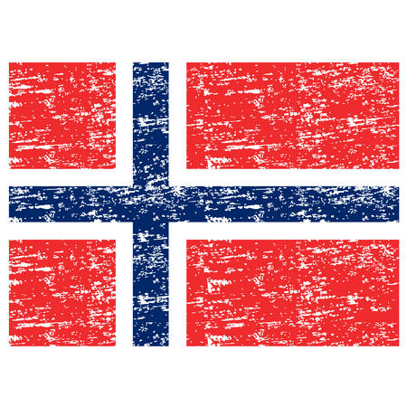 Flag of Norway. Brush painted Flag of Norway. Hand drawn style illustration with a grunge effect and watercolor. Flag of Norway with grunge texture.