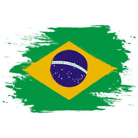 Bandera de Brasil. Pincel pintado la bandera de Brasil. Ilustración de estilo dibujado a mano con efecto grunge y acuarela. Bandera de Brasil con textura grunge.