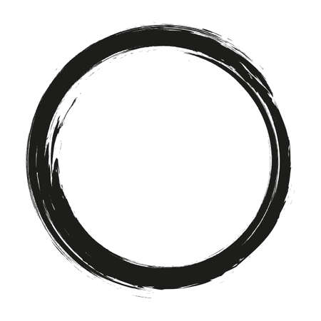 vector brush strokes circles of paint on white background. Ink hand drawn paint brush circle. Logo, label design element vector illustration. Black abstract circle.