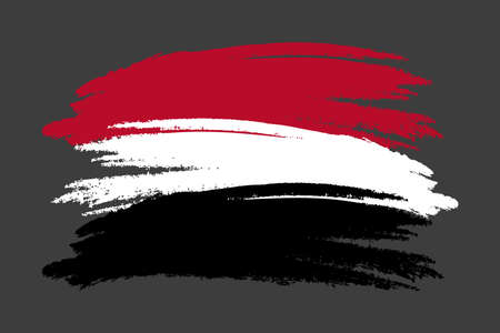 Yemen Flag. Brush painted Yemen Flag Hand drawn style illustration with a grunge effect and watercolor. Yemen Flag with grunge texture. Vector